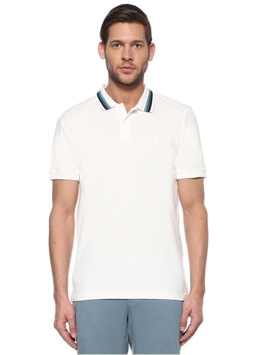 Slim Fit Beyaz Yakası Çizgili T-shirt