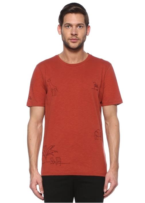 Kiremit Siyah Nakışlı T-shirt