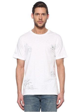 Beymen Club Erkek Beyaz Lacivert Nakışlı T-shirt XS male
