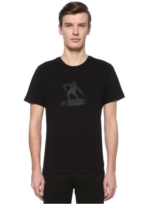 Siyah Figür Baskılı File Garnili Basic T-shirt
