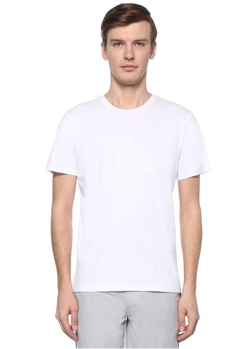 Beyaz Figür Baskılı File Garnili Basic T-shirt