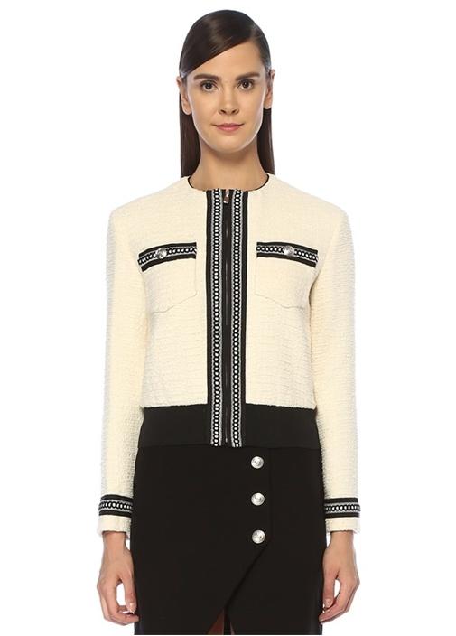 Ekru Kontrast Şeritli Tweed Ceket