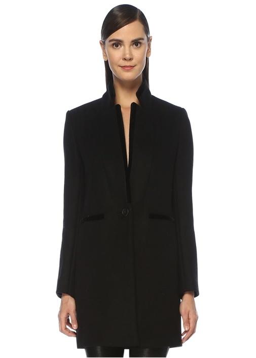 Siyah Dik Yaka Kadife Biyeli Yün Palto