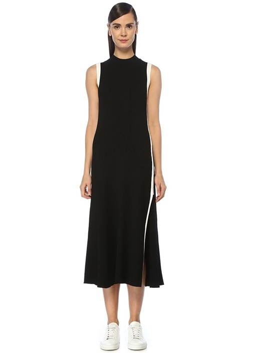 Rose Siyah Beyaz Şeritli Midi Triko Elbise