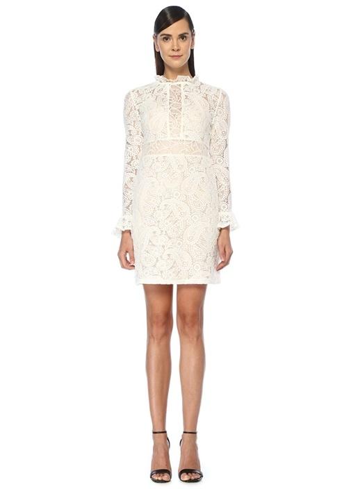 Beyaz Yakası Fırfırlı Güpür Detaylı Mini Elbise