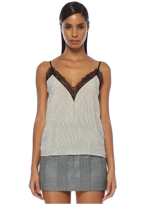 Leila Siyah Beyaz V Yaka Çizgili Dantelli Bluz