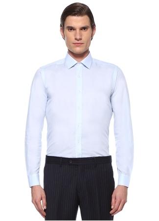Beymen Erkek Slim Fit Mavi Klasik Yaka Mikro Dokulu Gömlek EU male
