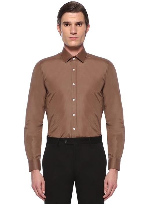 Slim Fit Kahverengi Modern Yaka Gömlek