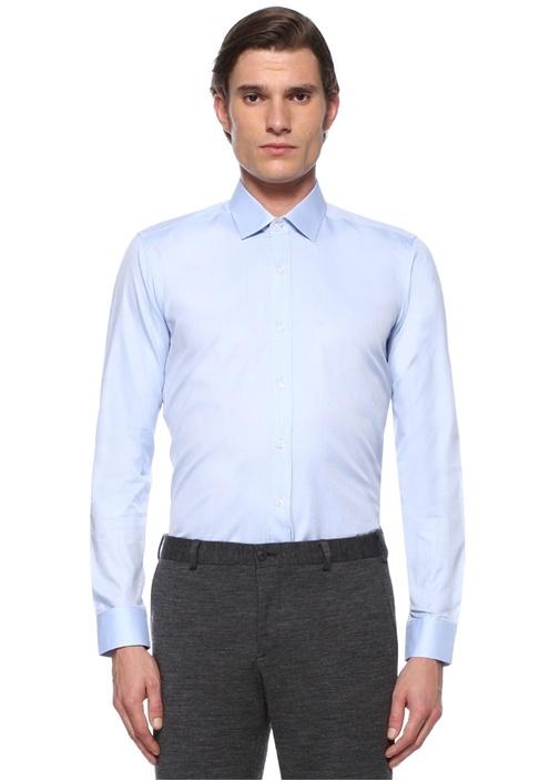 Slim Fit Mavi Modern Yaka Geometrik Desenli Gömlek
