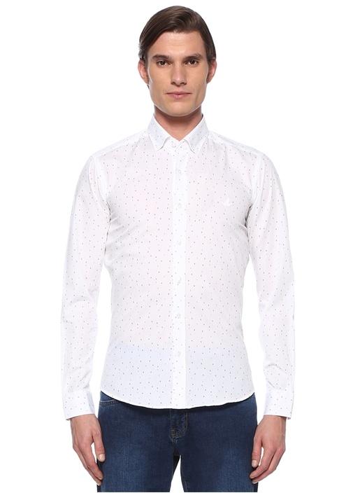 Slim Fit Beyaz Düğmeli Yaka Numara Baskılı Gömlek