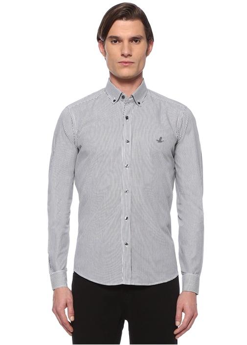 Comfort Fit Siyah Beyaz Çizgi Desenli Gömlek