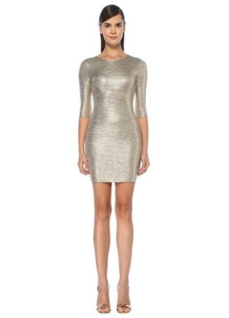 Alice+Olivia Kadın Delora Gold Yarım Kol Mini Elbise Altın Rengi 6 US