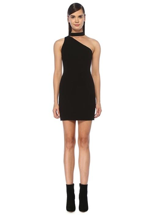 Skyla Siyah Halter Yaka Kesim Detaylı Mini Elbise