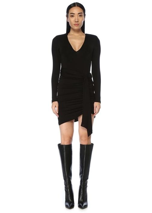 Kyra Siyah V Yaka Drapeli Mini Elbise