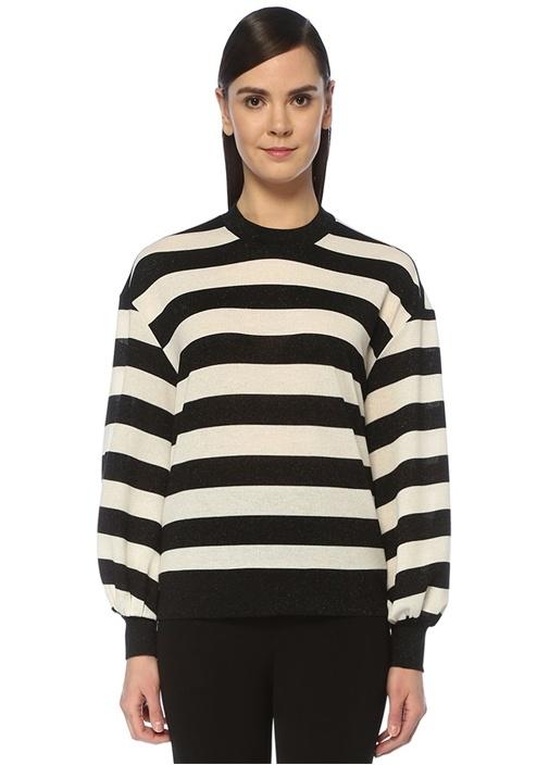Siyah Beyaz Simli Çizgili Balon Kol Bluz