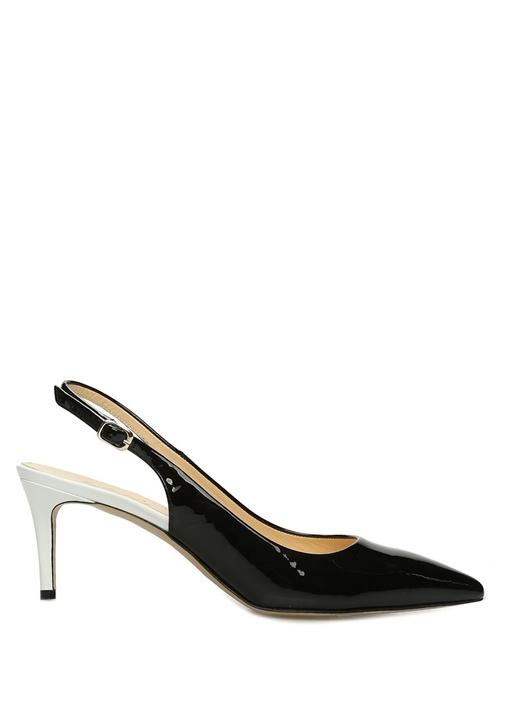 Siyah Beyaz Deri Topuklu Ayakkabı