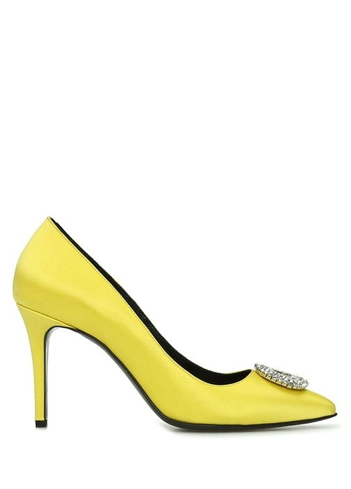 Sarı Taşlı Tokalı Saten Stiletto