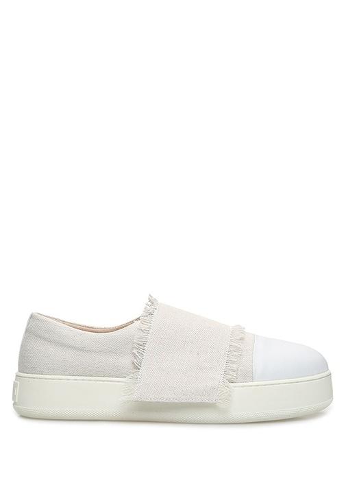 Beyaz Krem Deri Garnili Kadın Kanvas Sneaker