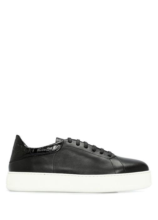 Siyah Doku Detaylı Kadın Deri Sneaker