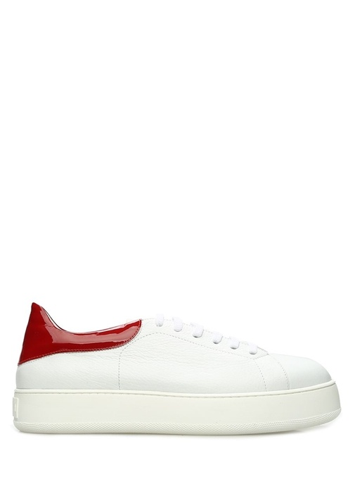 Beyaz Kırmızı Dokulu Kadın Deri Sneaker