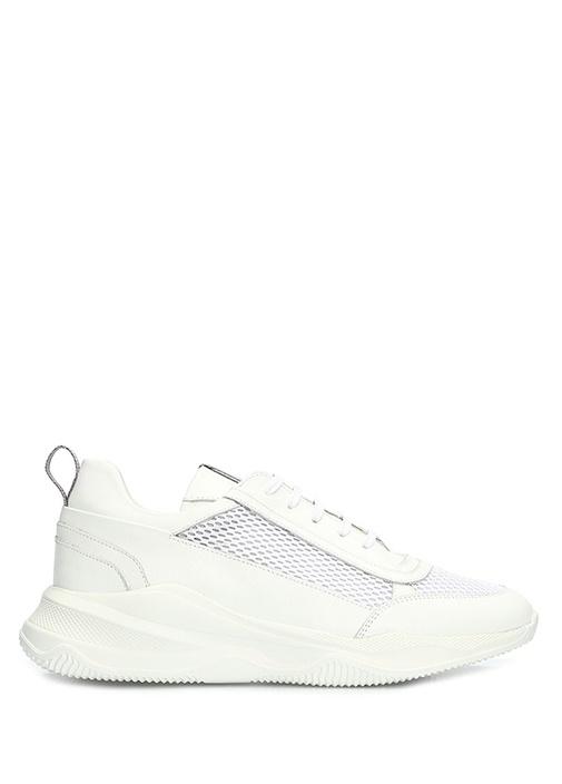 Beyaz Delik Dokulu Kadın Deri Sneaker