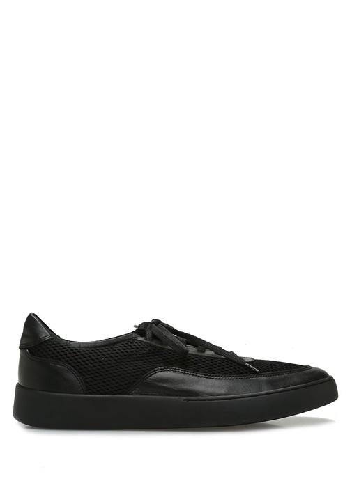 Siyah File Garnili Erkek Deri Sneaker