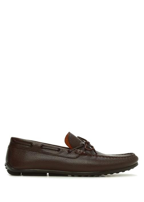 Kahverengi Fiyonk Detaylı Erkek Deri Loafer