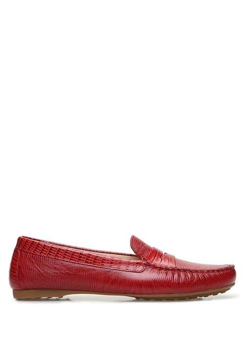 Kırmızı Desenli Kadın Deri Loafer