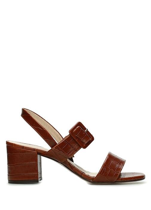 Kahverengi Krokodilli Kadın Deri Sandalet
