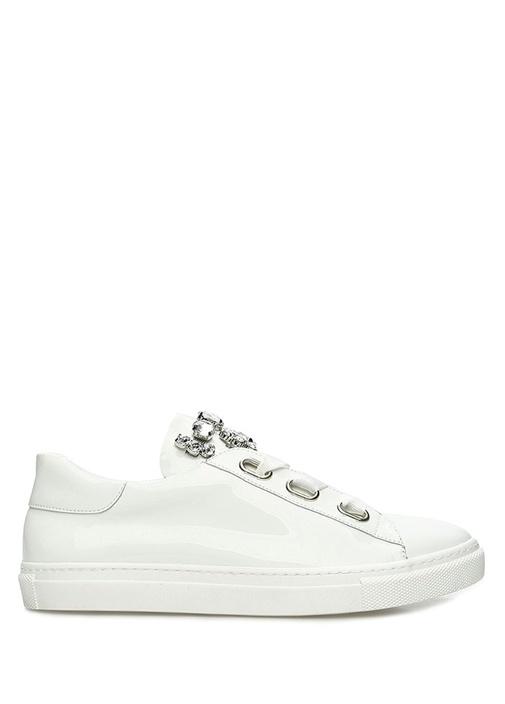 Beyaz Taş İşlemeli Kadın Deri Sneaker
