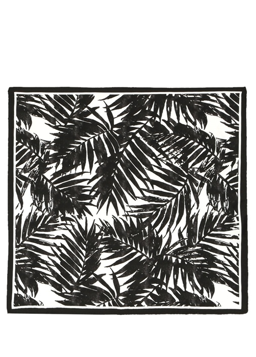Siyah Beyaz Desenli 50x50 cm Kadın İpek Eşarp