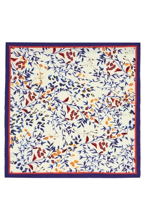 Mavi Çiçek Desenli 50x50 cm Kadın İpek Eşarp