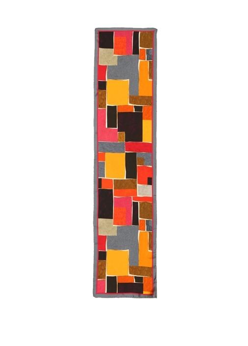 Colorblocked Geometrik Desenli Kadın İpek Fular