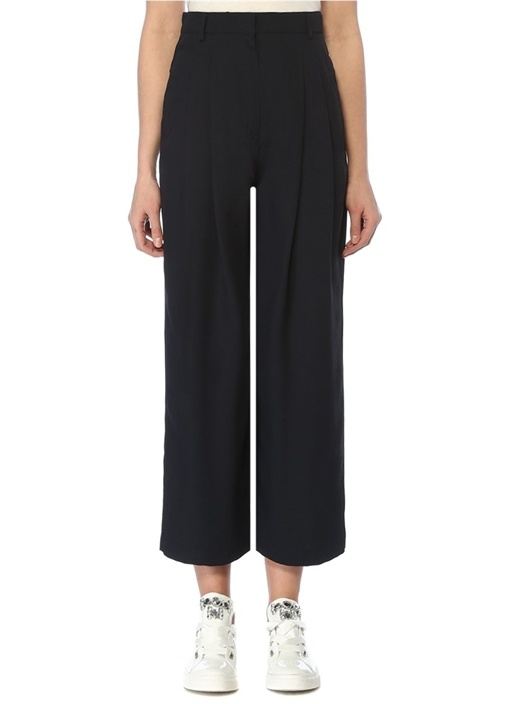 Lacivert Yüksek Bel Pilili Casual Pantolon