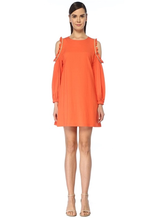 Turuncu Omzu Açık Taş Şeritli Mini Elbise