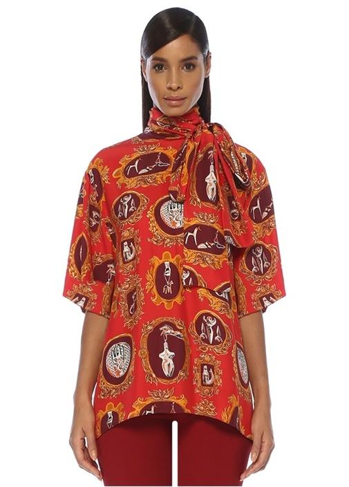 Kırmızı Yakası Bağlı Desenli Yarım Kol İpek Bluz