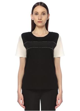 Beymen Collection Kadın Siyah Beyaz Garnili Bisiklet Yaka T-shirt M female