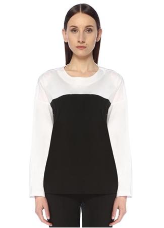 Beymen Collection Kadın Siyah Beyaz Garnili Uzun Kollu T-shirt Bej XXL female