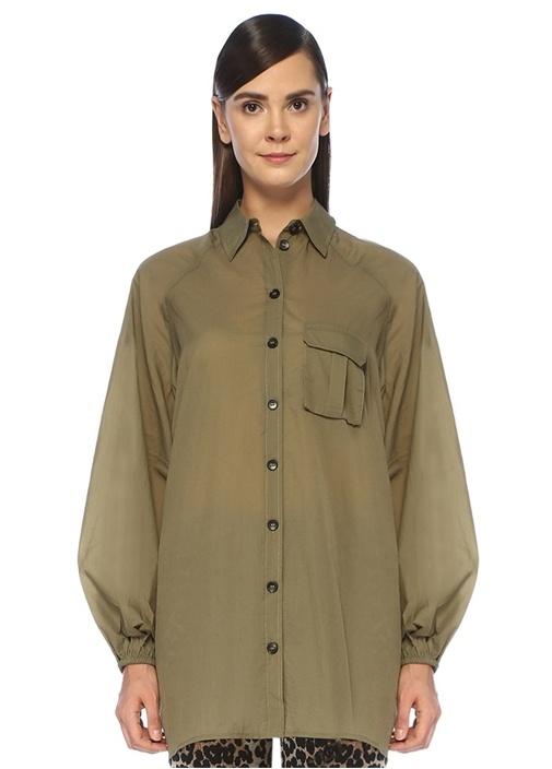 Yeşil İngiliz Yaka Sırt Dekolteli Gömlek