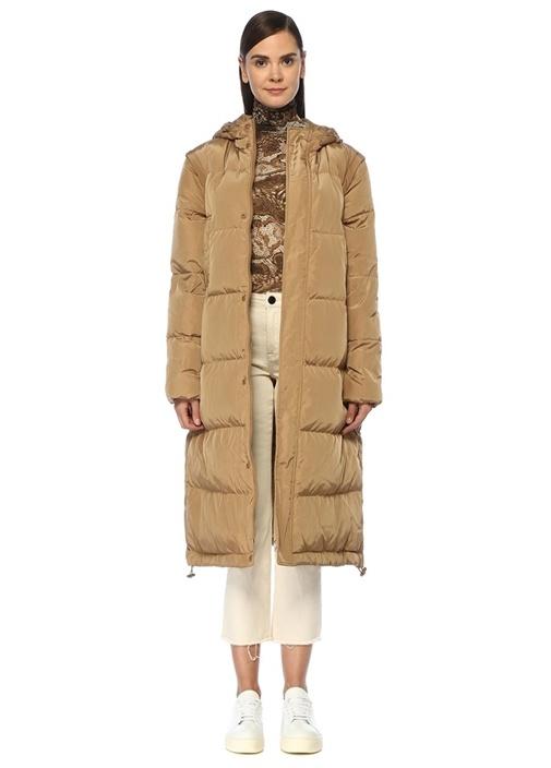 Oversize Bej Kapüşonlu Uzun Puff Palto