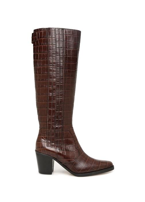 Kahverengi Krokodil Dokulu Kadın Deri Çizme