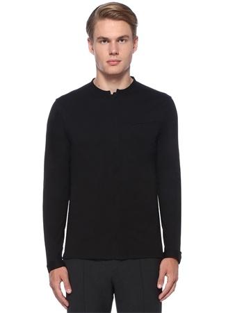 Siyah Yakası Düğmeli Cepli Gömlek