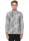 Siyah Beyaz Hakim Yaka Batik Desenli Gömlek