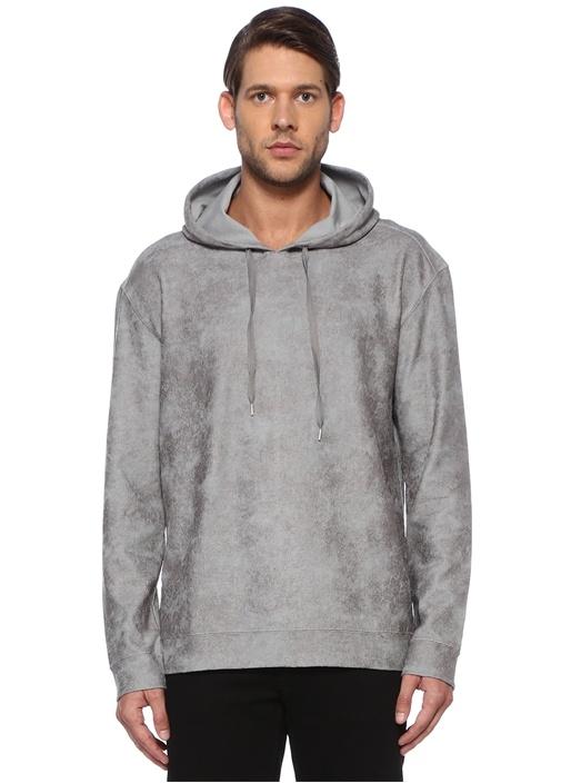 Gri Kapüşonlu Batik Desenli Sweatshirt