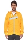 Sarı Kapüşonlu Logo Baskılı Sweatshirt