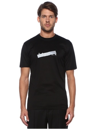 Slim Fit Siyah Logo Baskılı T-shirt