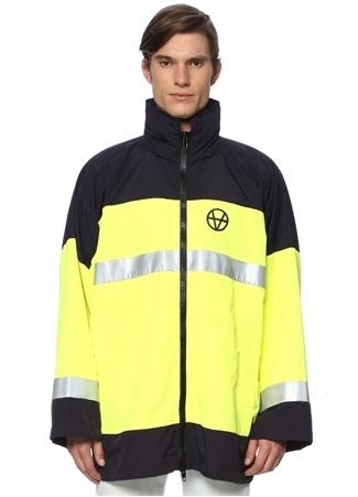 Vetements Erkek Neon Sarı Kapüşonlu Reflektif Şeritli Mont Lacivert M EU