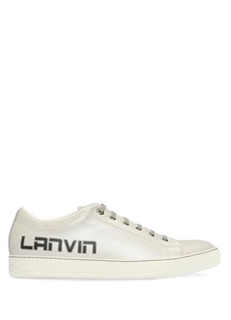 Lanvin Erkek Silver Logo Baskılı Deri Sneaker Gri 7 UK male
