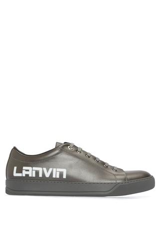 Lanvin Erkek Antrasit Logo Baskılı Deri Sneaker Lacivert 5 UK male