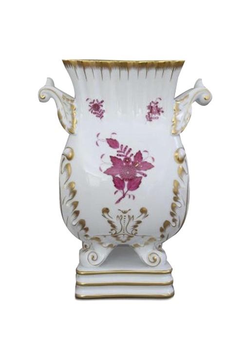 Beyaz Çiçek Desenli Kare Ayaklı Porselen Vazo